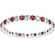 Round Garnet and Diamond Eternity Ring