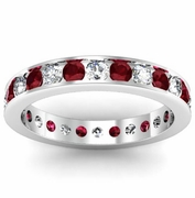 Round Garnet and Diamond Eternity Ring in Channel Setting