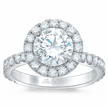 Round Halo Engagement Ring with Diamond Encrusted Basket - click to enlarge