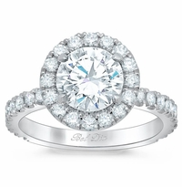 Round Halo Engagement Ring with Diamond Encrusted Basket