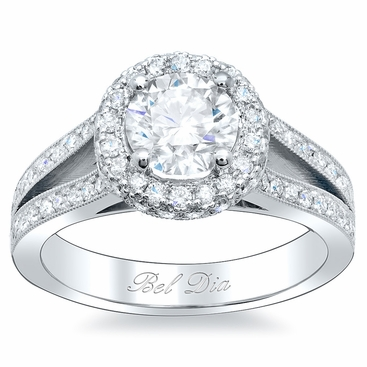 Round Halo Engagement Ring with Split Shank - click to enlarge