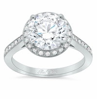 Round Halo Pave Engagement Ring 1.25 cttw