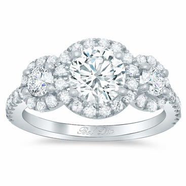 Round Halo Three Stone Ring - click to enlarge