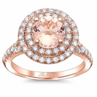 Round Morganite Double Halo Engagement Ring with Baby Split