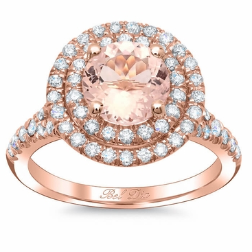 Round Morganite Double Halo Engagement Ring With Baby Split Click To Enlarge