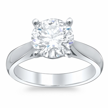 Round Open Tapered Solitaire Engagement Ring 2.7mm - click to enlarge