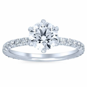 Round Pave Engagement Ring - click to enlarge