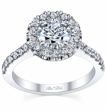 Round Pave Halo Ring Setting - click to enlarge