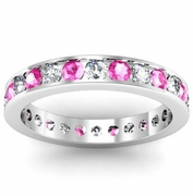Round Pink Sapphire and Diamond Eternity Band in Channel Setting