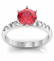 Round Ruby Engagement Ring with Channel Set Band