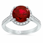 Round Ruby Halo Engagement Ring