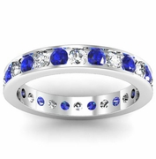 Round Sapphire and Diamond Eternity Band in Channel Setting