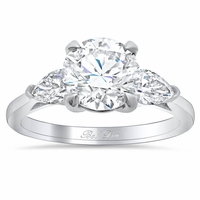 Round Three Stone Engagement Ring with Pears