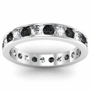 Round White and Black Diamond Eternity Band in Channel Setting