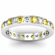 Round Yellow Sapphire and Diamond Eternity Ring in Channel Setting