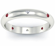 Ruby and Diamond Domed  Landmark Eternity Ring