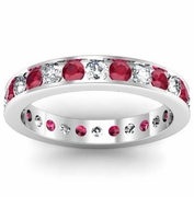 Ruby and Diamond Eternity Ring in Channel Setting