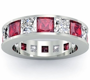 Ruby and Diamond Gemstone Eternity Anniversary Ring