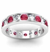 Ruby and Diamond Gemstone Eternity Ring in Channel Setting