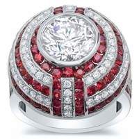 Ruby and Diamond Halo Engagement Ring