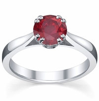 Ruby Double Prong Tapered Solitaire