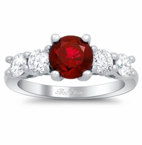 Ruby Five Stone Engagement Ring with Diamond Accents