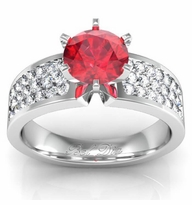 Ruby Pave Banded Engagement Ring
