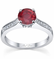 Ruby Pave Engagement Ring with Milgrain