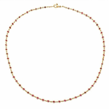 Ruby Station Necklace in Yellow Gold - click to enlarge