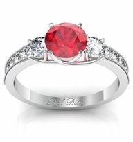 Ruby Three Stone Engagement Ring with Diamond Accents