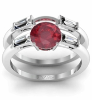Ruby Three Stone Engagement Ring with Matching Band