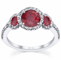 Ruby Three Stone Halo Engagement Ring