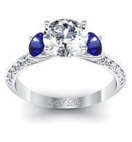 Sapphire Accented Knife Edge Engagement Ring