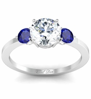 Sapphire Accented Three Stone Engagement Ring