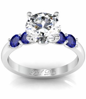 Sapphire and Diamond Engagement Ring in U-Setting
