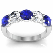Sapphire and Diamond Five Stone Ring 2.00cttw