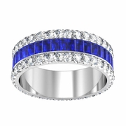 Sapphire or Ruby Baguette Eternity Ring with Pave Accents