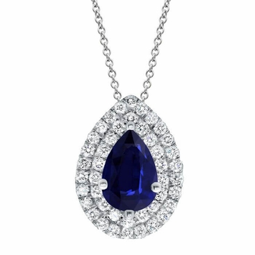 Sapphire Pear Double Halo Necklace - click to enlarge