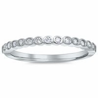 Scalloped Bezel Diamond Wedding Band