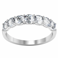 Seven Stone Ring with Square Shaped Diamonds