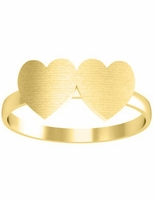 Signet Ring Gold Double Heart