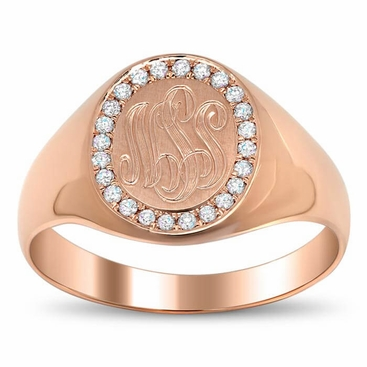 Signet Ring with Pave Set Diamond Rim - click to enlarge