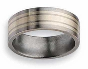 Silver Inlay Titanium Band Matte Finish in 8mm