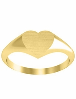Single Initial Heart Gold Signet Rings