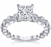 Single Prong Ladies Engagement Ring Round Diamonds
