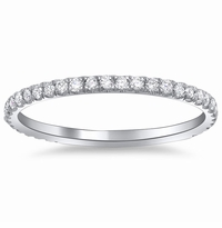 Single Row Diamond Pave Wedding Ring