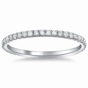 Single Row Diamond Pave Wedding Ring - click to enlarge