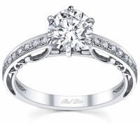 Single Row Pave Diamond Engagement Ring
