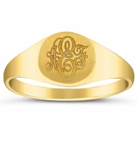 Small Round Center Yellow Gold Signet Ring