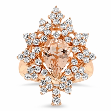 Snowflake Halo Engagement Ring for Pear Morganite - click to enlarge